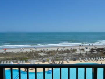 Oceanfront view from balcony - Oceanfront 1BR @ MB Resort! Pools/gym/WiFi - A407 - Myrtle Beach - rentals