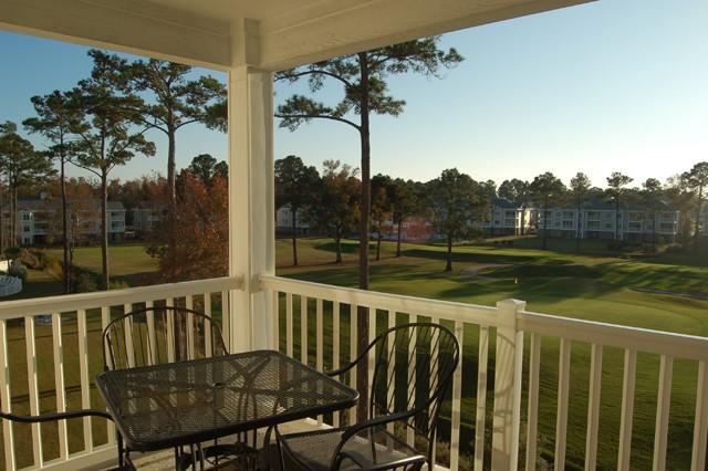 Golf course view from balcony - Spacious 3BR Myrtlewood Villa, Golf/Gym/Pools - Myrtle Beach - rentals