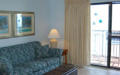 Living room with balcony access - Oceanfront 1BR @ MB Resort, pools/WiFi/more! B502 - Myrtle Beach - rentals