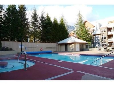 Pool and hot tub-can be seen from suite - Whistler Mountain Ski in Ski Out Creekside (2bed) - Whistler - rentals