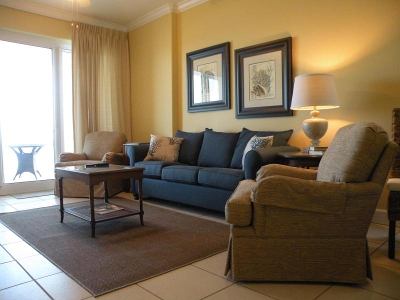Comfortable Living Room - Oceanfront Condo - Wifi -Corner Unit 3b/3b Beautiful!!! - Gulf Shores - rentals