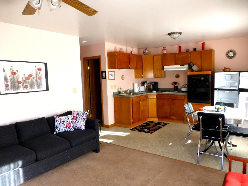 Living room, kitchen, dining area - Delightful Getaway in the Catskills for 4 WiFi - East Jewett - rentals