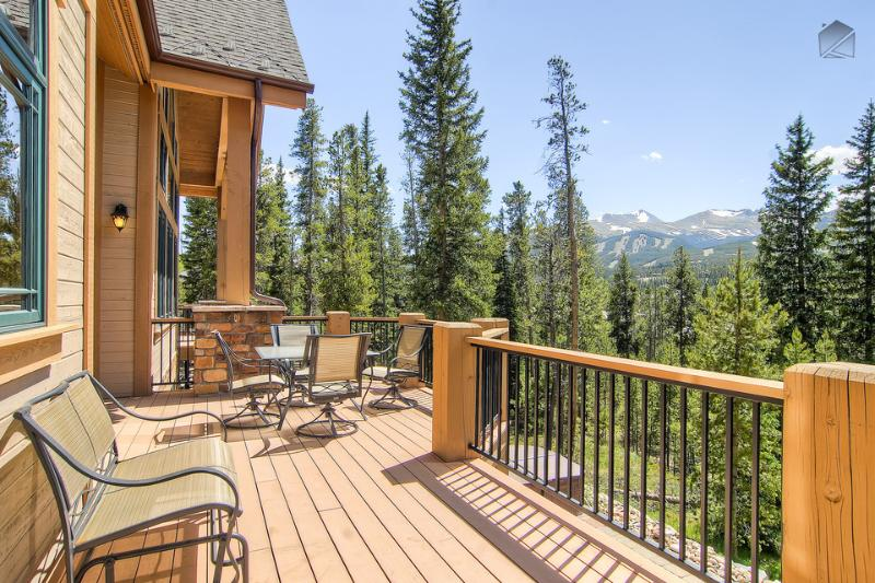 The mountain views from the upper balcony are not easily forgotten. - Modern chateau-style home with mountain views, private theater, hot tub, free shuttle - Mont Vista Châteaux - Breckenridge - rentals