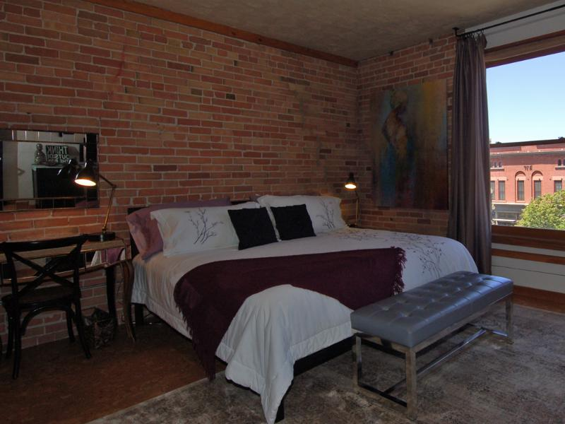 Dreamy kingsize bed. Nightstand for him, makeup table and large closet for her. - The Salt Flat - Upscale, Downtown, Boutique Condo - Salt Lake City - rentals