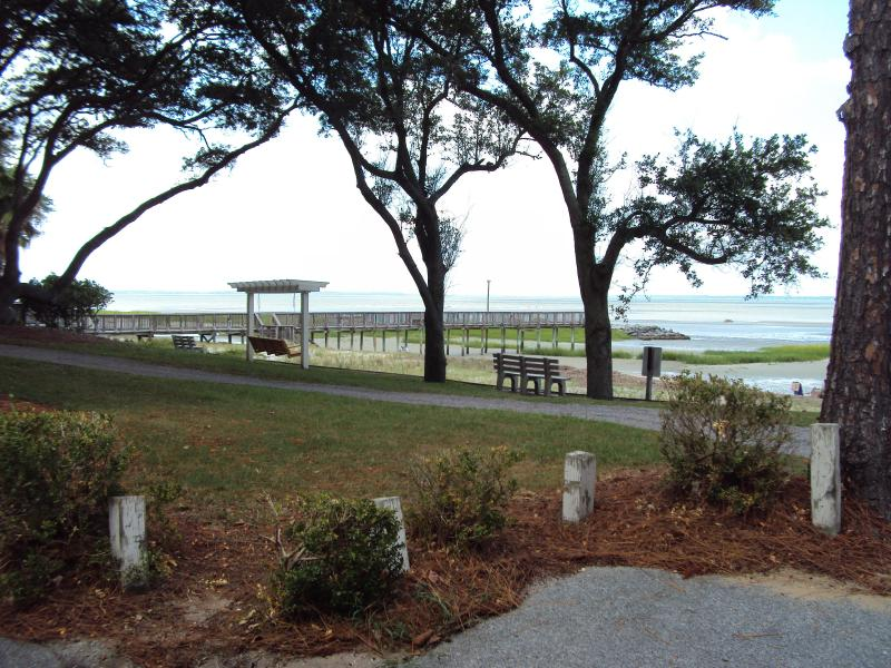 Ocean View from end of Condo Building - OCEAN VIEW, Ground Floor, 3 Pools, Tennis, Quiet Beach/Private Pier - Hilton Head - rentals