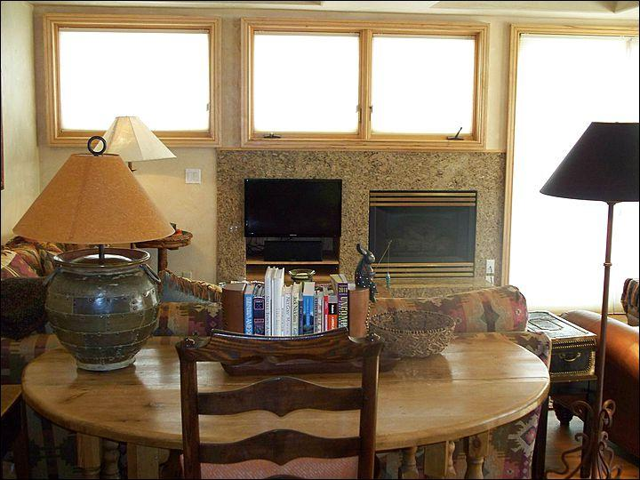 Sunny Living Room Includes a Gas Fireplace and Flat-Screen TV - 7th Floor, Corner Penthouse - Ideal Summer or Winter Retreat (6690) - Telluride - rentals