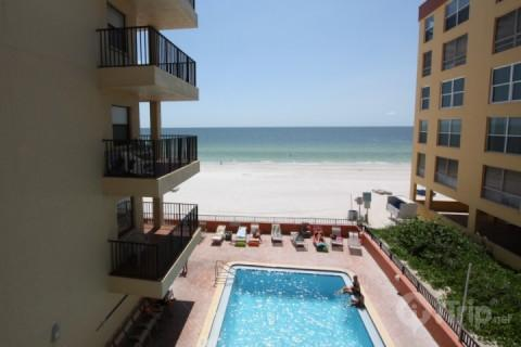 View from private balcony overlooking the pool and beach - 208 - Las Brisas - Madeira Beach - rentals