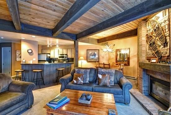 Large and Open Kitchen, Living and Dining Area, Leading to The Large Balcony, With Flat Screen TV, Gas Fireplace - Lodge B108 - Steamboat Springs - rentals