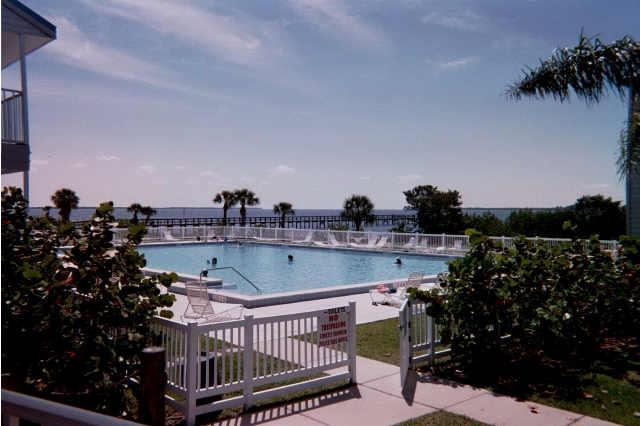 View of pool from clubhouse - Harbour Village condo waterfront  Charlotte Harbor - El Jobean - rentals