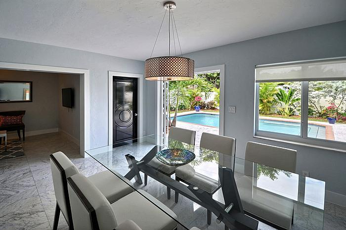 Dining Room overlooking tropical pool - Villa Acqua - Serene Tropical House - Heated Pool! - Fort Lauderdale - rentals