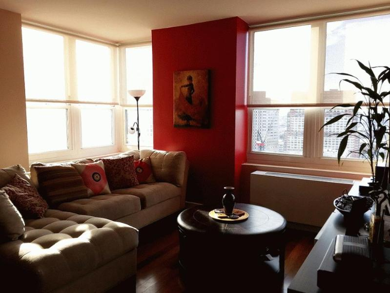 Cozy and sunlit Living Room - Modern Condo in Luxurious JC Waterfront High Rise - Jersey City - rentals