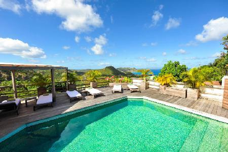 Hillside Mapou with wraparound pool deck, exceptional views & daily maid - Image 1 - Petites Salines - rentals