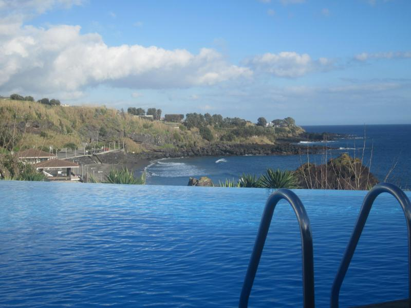 View from the pool - Marina Mar II: 1-Bedroom Apartment by the Beach - Vila Franca do Campo - rentals