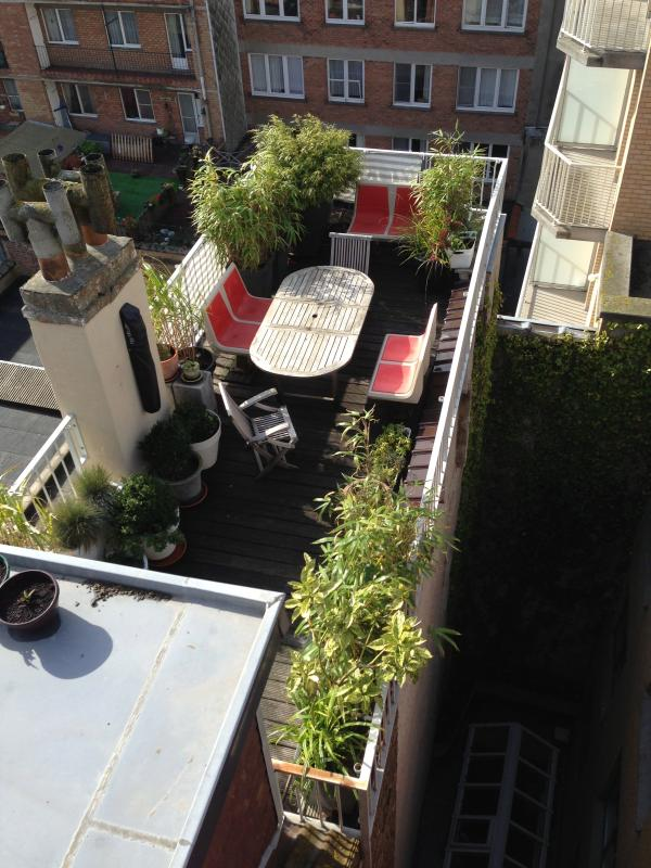 terrace with plants. At the end of the terrace you can overlook a stripe of the sea - sunny studio with huge terrace of 20 sq. m. - Ostende - rentals
