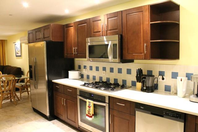 Spacious open kitchen with modern appliances including ice maker and espresso machine - Antigua luxury waterfront south finger villa 234D - Jolly Harbour - rentals