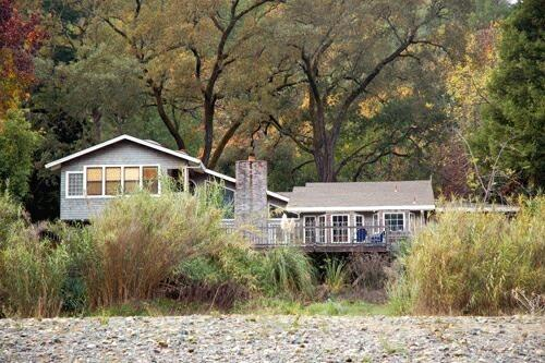 This home's location on the river's edge gives spectacular views from the deck - Blue Heron House - Riverfront , Spa, Views & Beach - Healdsburg - rentals