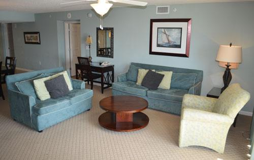 Living room with balcony access - 3BR luxury Yacht Club, wifi/huge pool/more! 2-303 - North Myrtle Beach - rentals