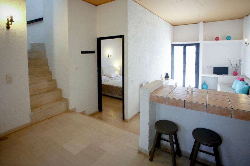Living Room and Kitchen Area - Family House with incredible sea view in Andros - Andros - rentals