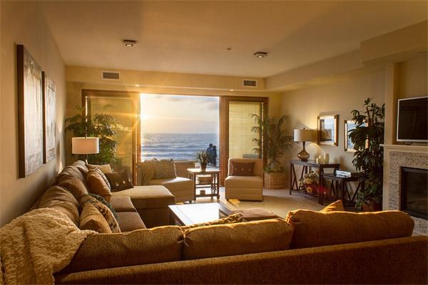 Expansive living room with ocean views. - Newly Built Luxury Beach Front Sands Villa - Oceanside - rentals