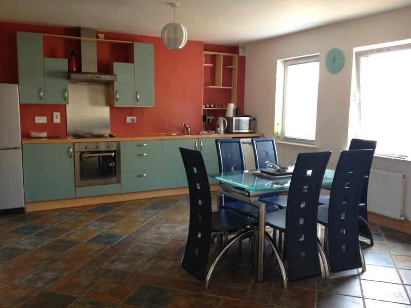 Fashionable Kitchen with dishwasher, fridge and stocked with utensils and cooking supplies - Trendy Modern Cork Home - Carrigtwohill - rentals