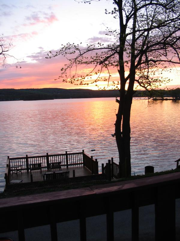 view from 2nd story deck - Blue Lagoon - cottage on Lamoka Lake - Bradford - rentals