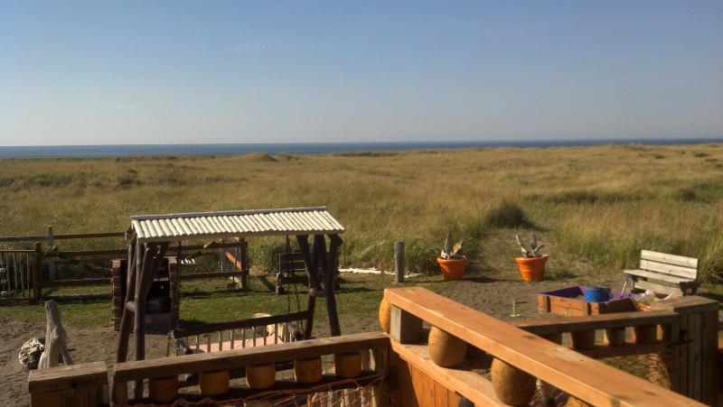View from deck. Swing, picnic tables, sand box, bbq grill, horseshoes and dog drun in oceanside yard - Best Priced OCEANFRONT Home - Pet Friendly- Views! - Westport - rentals