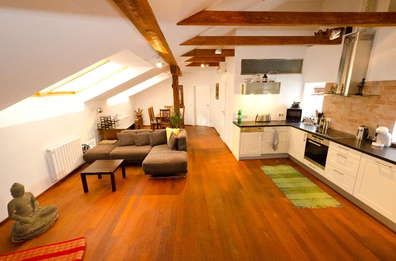 Exclusive apartment in the hearth of Prague. Bright, spacious living room and fully equipped kitchen - Cozy 2-BDR Top Floor Apt., Sauna Air/Con WiFi Lift - Prague - rentals