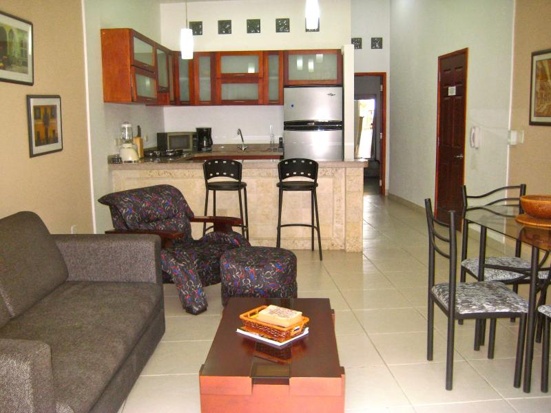 Living/dining area with kitchen - Old City 2 Bedroom: Balconies, AC, washer/dryer! - Cartagena - rentals