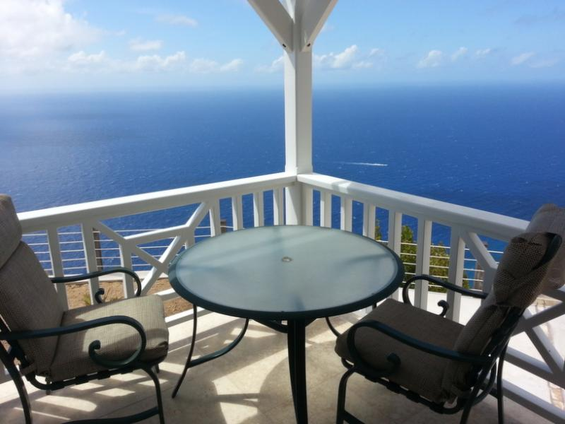 Veranda east corner - gaze south and watch the lobster boats return from the Saba Bank  - Spyglass - Saba villa with breath-taking view - Saba - rentals