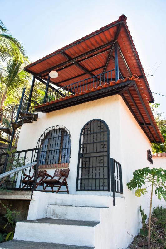 Cabina with siting area in front and private tower patio above - Cabina Blanca - Cozy & Secluded - Playa Conchal - rentals