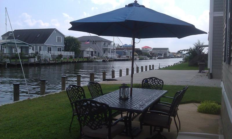 Patio dining and waterfront docking - Fenwick Island Waterfront 3BR Home, Bay access Pool - Selbyville - rentals