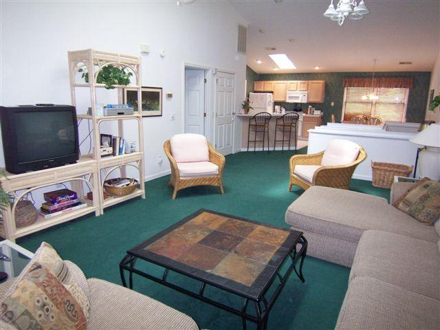 Spacious upstairs living room with large screen TV - 3 BR BA Villa (5C3), Resort 1 Mile from the Beach - Sunset Beach - rentals