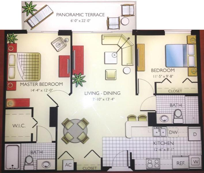 Apt plan - 2 bed / 2 bath apartment in Miami 9 - Sunny Isles Beach - rentals