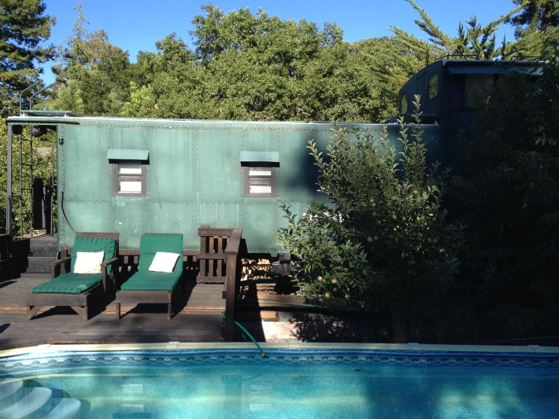 Relax next to shared pool  - Cozy Wine Country Caboose - Forestville - rentals