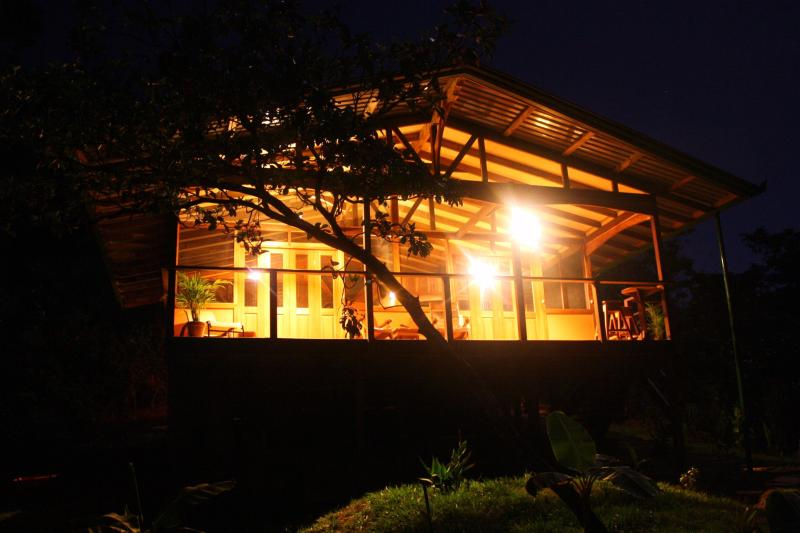The cabina at night. - Adventure Rich Jungle Home, River and Ocean Access - Drake Bay - rentals