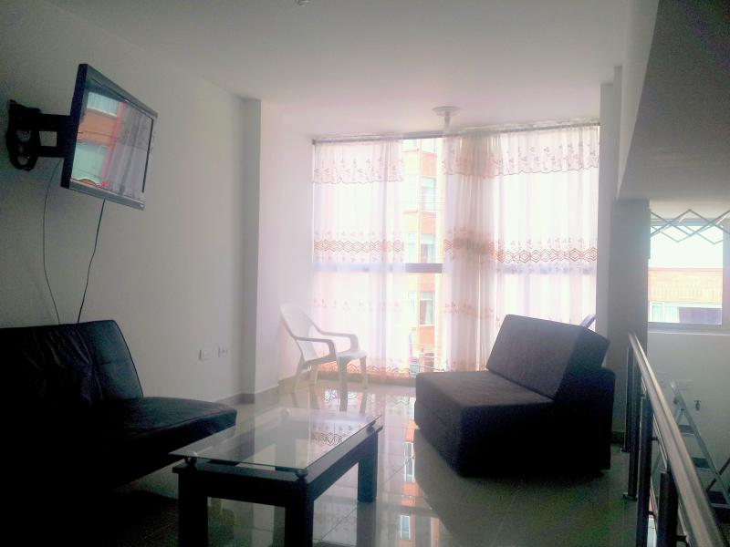Very well lit living room, sits one meter above rest apartmennt, a siderailing gives a great feel.  - Best Location in Medellin. Very Central, Very FUN! - Medellin - rentals