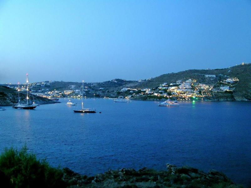 Evening view from the Terrace - Waterfront house Mykonos - Ammopi - rentals