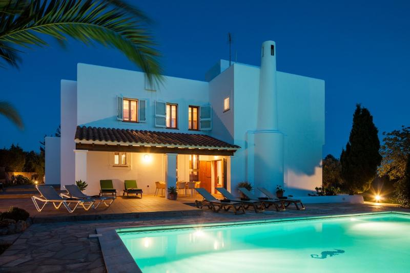 Back of villa, near the pool, by twilight - Beautiful 5 Bedroom Villa in Ibiza Town with Pool - Es Vive - rentals