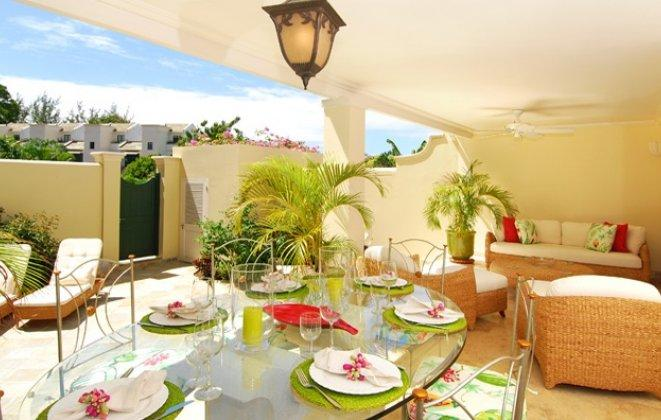 Alfresco Dining Area - 4 Bedroom Townhome with Infinity Pool Gym & Tennis - Speightstown - rentals