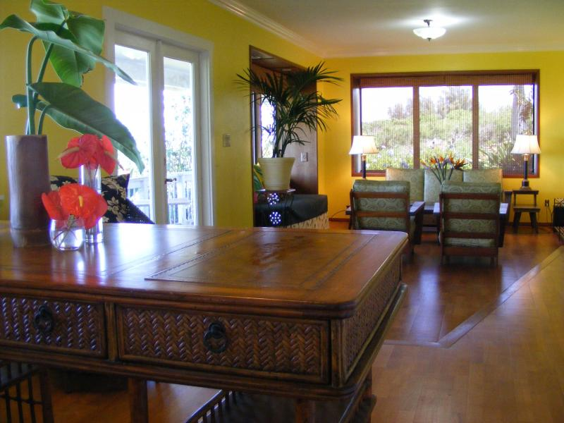 Living room with heirloom koa furniture viewed from the study - KOHALA GUEST SUITE  .  .Private!  Panoramic Views! - Hawi - rentals