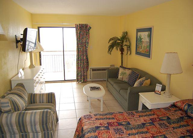 Living area looking out towards beach - Bluewater 1002B- 2 Bedroom Ocean Front unit with a beachfront view - Myrtle Beach - rentals