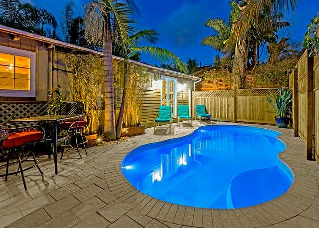 Brand new private pool with lounge seating, bistro table, and tropically landscaped surroundings - #363 - Poolside Paradise - La Jolla - rentals