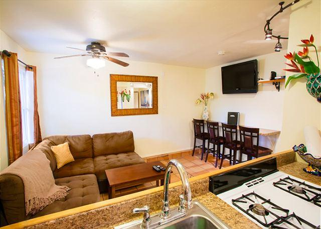 Kitchen is open to the living room. - #365LJ - Casual Comfort Duplex (ground level unit) - La Jolla - rentals