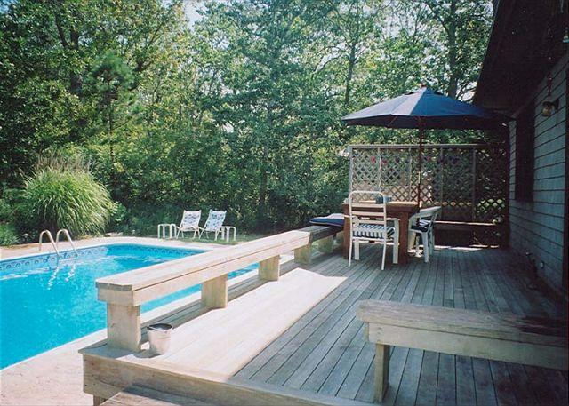 View of Deck and Pool - SWINL - Private Pool, Landscaped Yard, Hi Speed Internet - West Tisbury - rentals