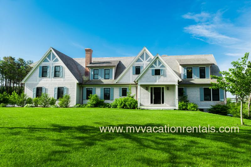 Entry Side of House from Driveway - MORAA - Custom Crafted Luxury Home on Farm Neck Golf Course, Waterviews, Central A/C, Wifi,  Bike to State Beach - Oak Bluffs - rentals