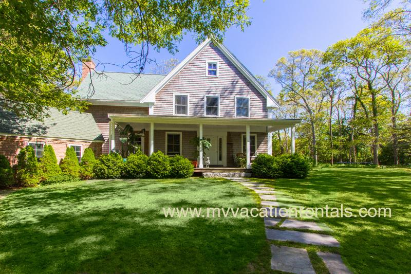 Entry Side of House - OCALK - Charming Custom Home, 3 Living Areas, Chef's Kitchen, Large Private Yard and Patio Area, A/C in 3 Bedrooms, Walk to Town, Perfect for Extended Families - Vineyard Haven - rentals