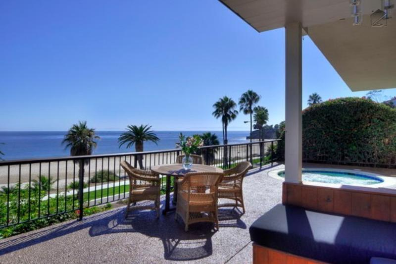 Watch the sun set while you enjoy dinner or a soak in the hot tub (lower level). - West Beach ocean view condo with deck and hot tub - Sea Cliff Retreat - Santa Barbara - rentals