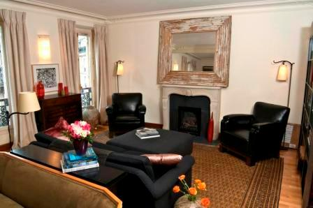 Luxury living area, with fireplace - Paris,heart of Le Marais, luxury 1B apartment - Paris - rentals