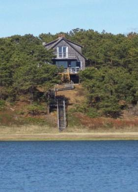 Back of Home facing tidal water. Stairs to beach and water. - Waterfront  Sleeps 10, Internet & Air Conditioning - Wellfleet - rentals