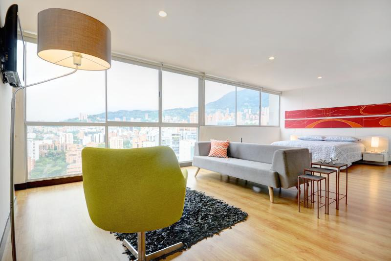 Living room to bedroom view - Penthouse Loft - Spectacular Views and Location - Medellin - rentals